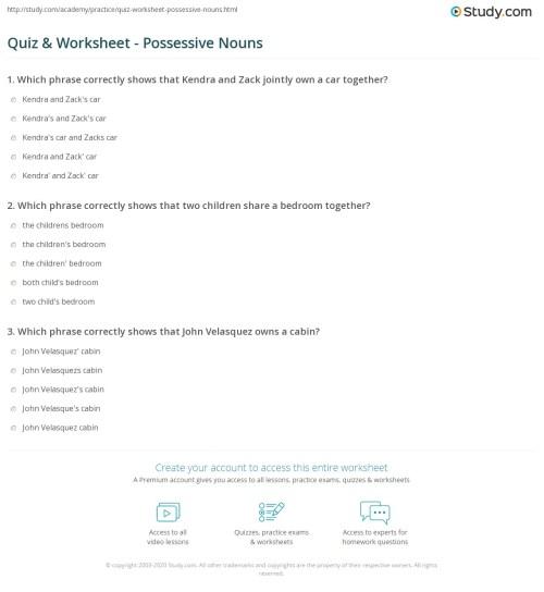 small resolution of Quiz \u0026 Worksheet - Possessive Nouns   Study.com