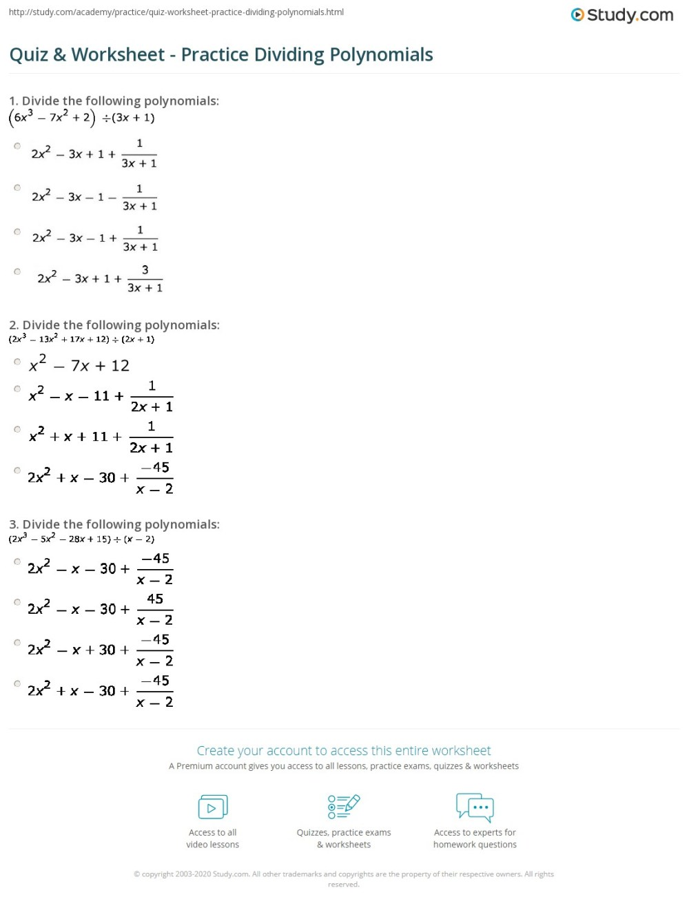 medium resolution of 34 Dividing Polynomials Worksheet With Answers - Worksheet Resource Plans