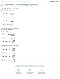 Printables. Dividing Polynomials Worksheet ...
