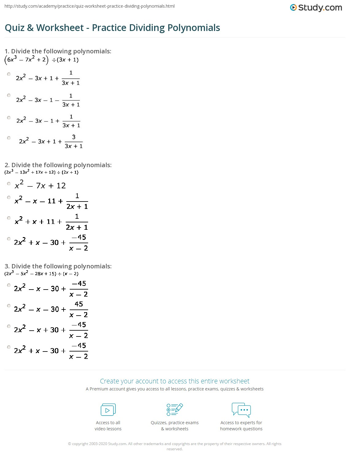 hight resolution of 34 Dividing Polynomials Worksheet With Answers - Worksheet Resource Plans