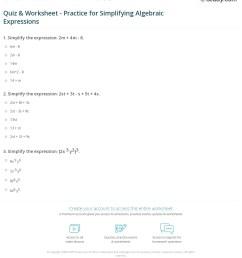 Quiz \u0026 Worksheet - Practice for Simplifying Algebraic Expressions    Study.com [ 1271 x 1140 Pixel ]