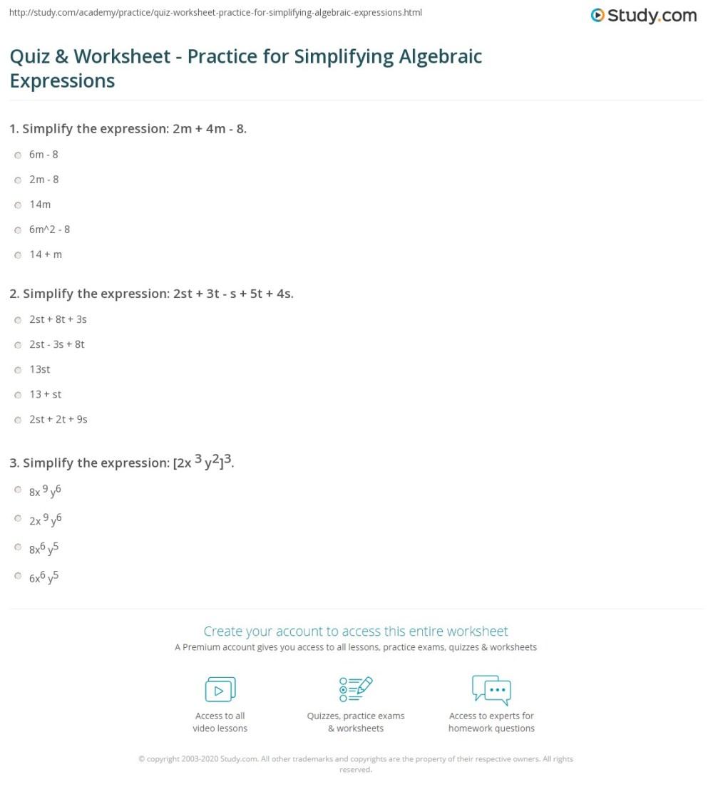medium resolution of Quiz \u0026 Worksheet - Practice for Simplifying Algebraic Expressions    Study.com
