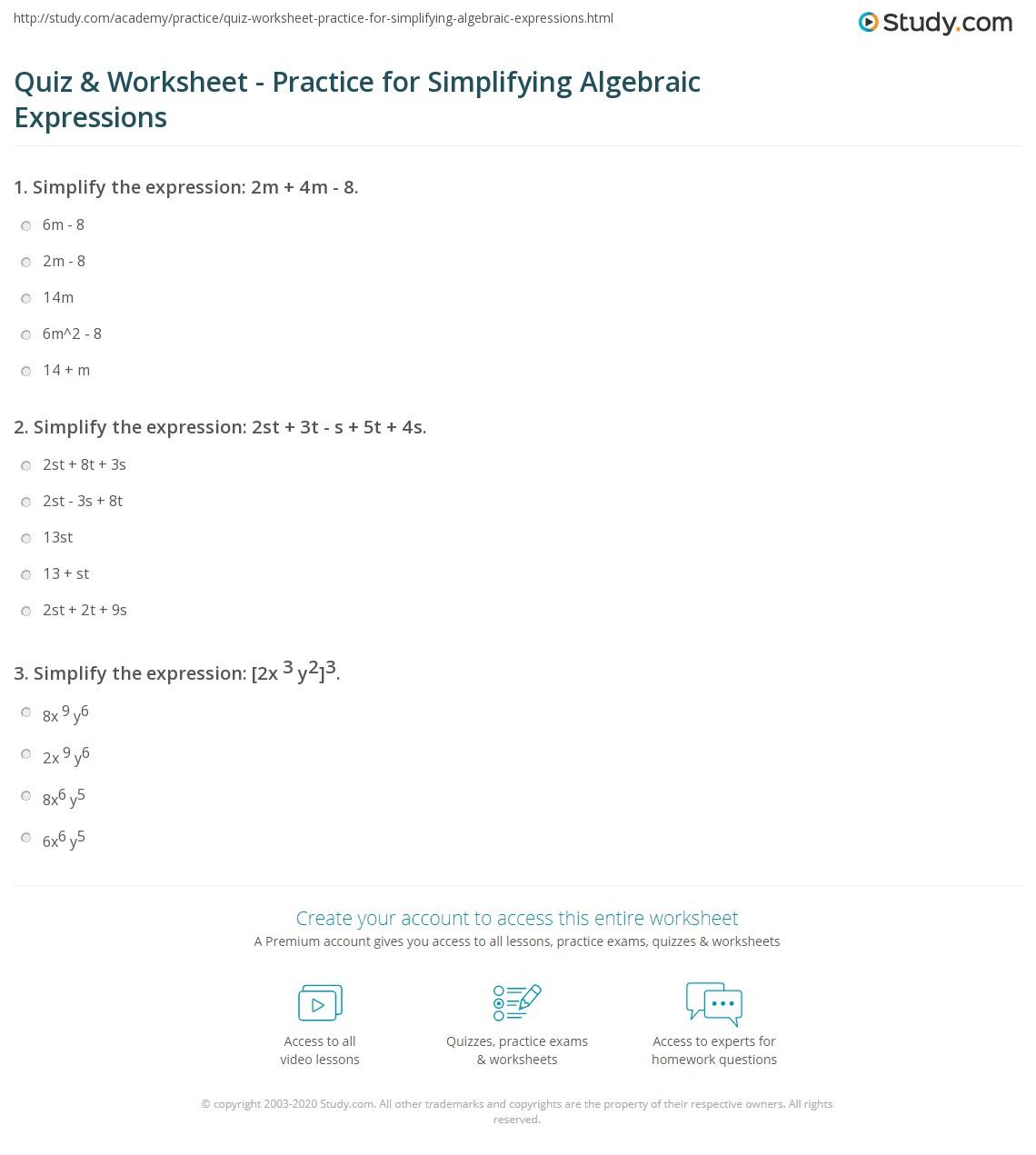 hight resolution of Quiz \u0026 Worksheet - Practice for Simplifying Algebraic Expressions    Study.com