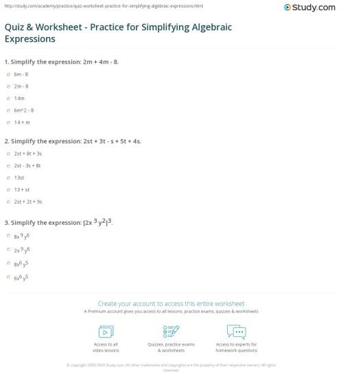 small resolution of Quiz \u0026 Worksheet - Practice for Simplifying Algebraic Expressions    Study.com