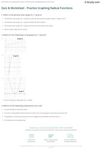 Domain And Range Of Radical Functions Worksheet With ...