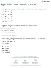 Quiz & Worksheet - Practice Problems for Completing the ...