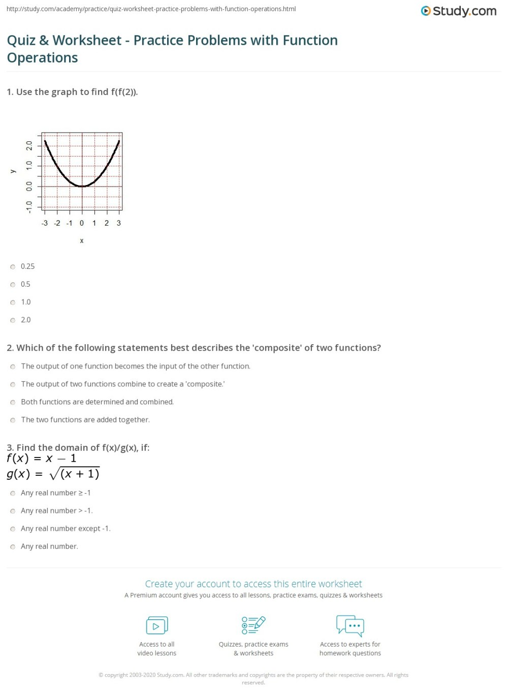 medium resolution of Quiz \u0026 Worksheet - Practice Problems with Function Operations   Study.com