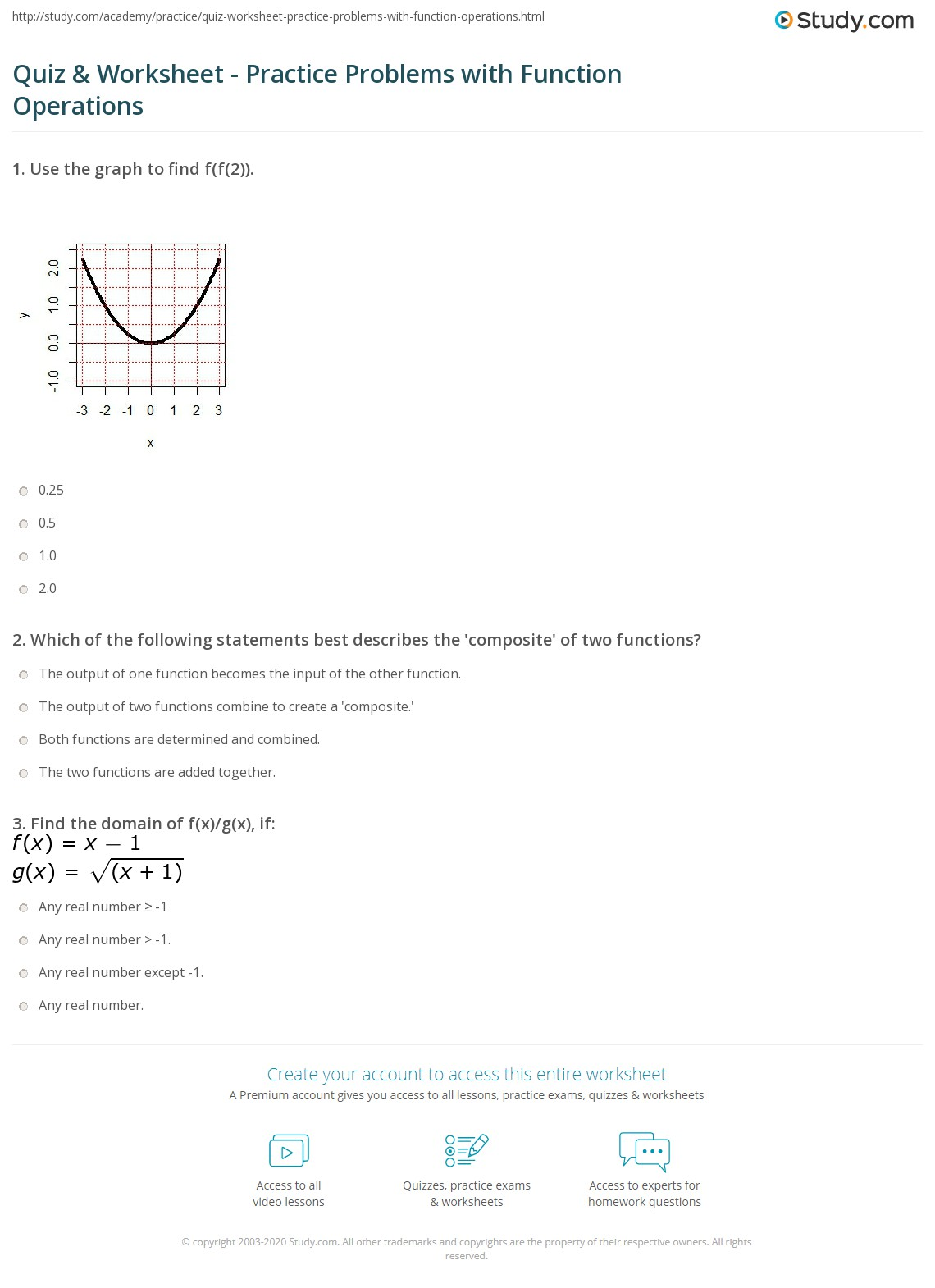 hight resolution of Quiz \u0026 Worksheet - Practice Problems with Function Operations   Study.com