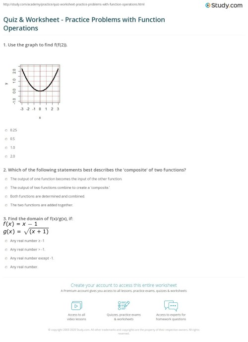 small resolution of Quiz \u0026 Worksheet - Practice Problems with Function Operations   Study.com