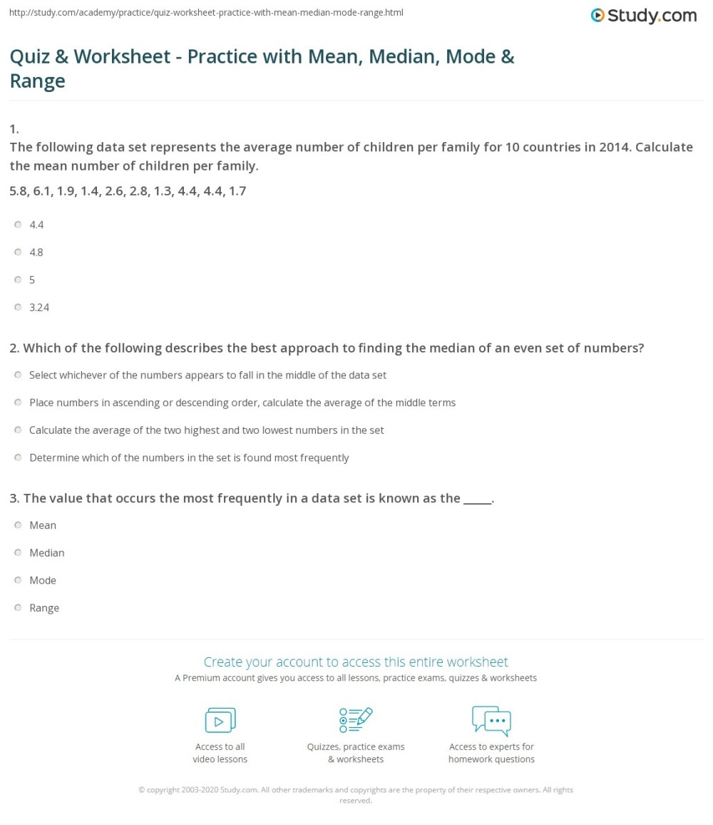 medium resolution of Quiz \u0026 Worksheet - Practice with Mean