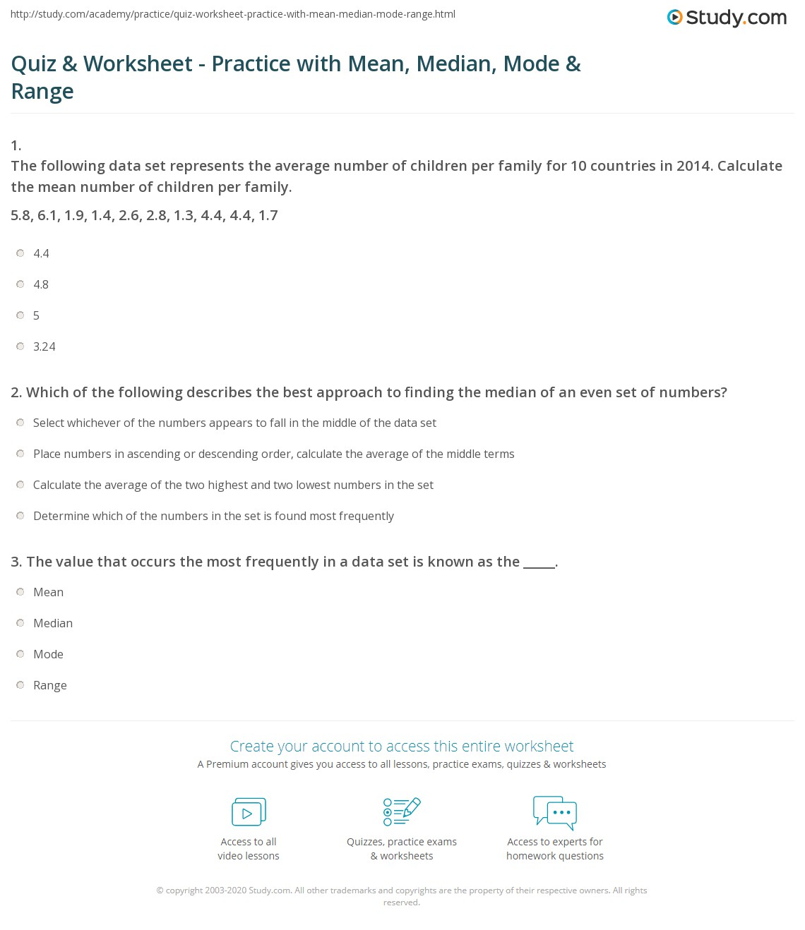 hight resolution of Quiz \u0026 Worksheet - Practice with Mean