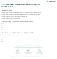 Quiz & Worksheet - Predict the Formation, Charge, and ...