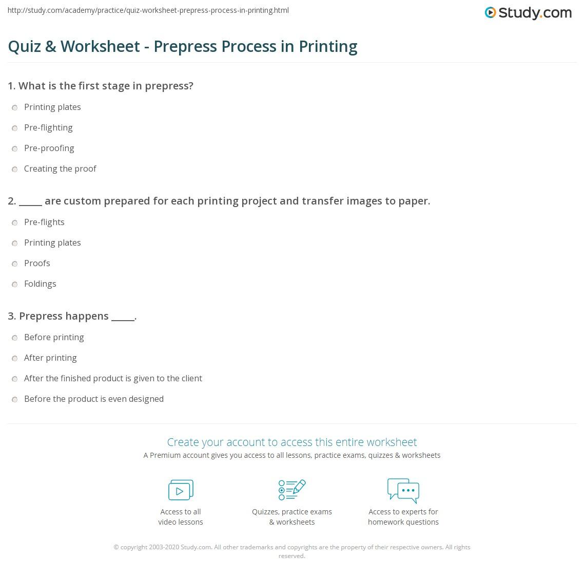 Quiz W Ksheet Prepress Process Pr T G Study