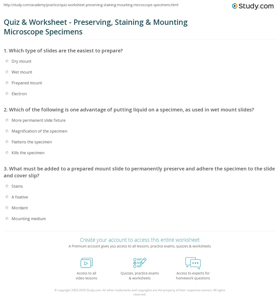 Microscope Worksheet With Answer