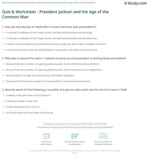 small resolution of Quiz \u0026 Worksheet - President Jackson and the Age of the Common Man    Study.com