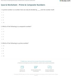Quiz \u0026 Worksheet - Prime \u0026 Composite Numbers   Study.com [ 1241 x 1140 Pixel ]