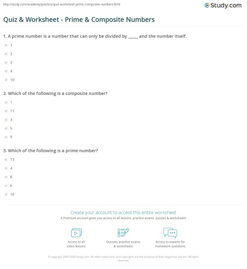 small resolution of Quiz \u0026 Worksheet - Prime \u0026 Composite Numbers   Study.com