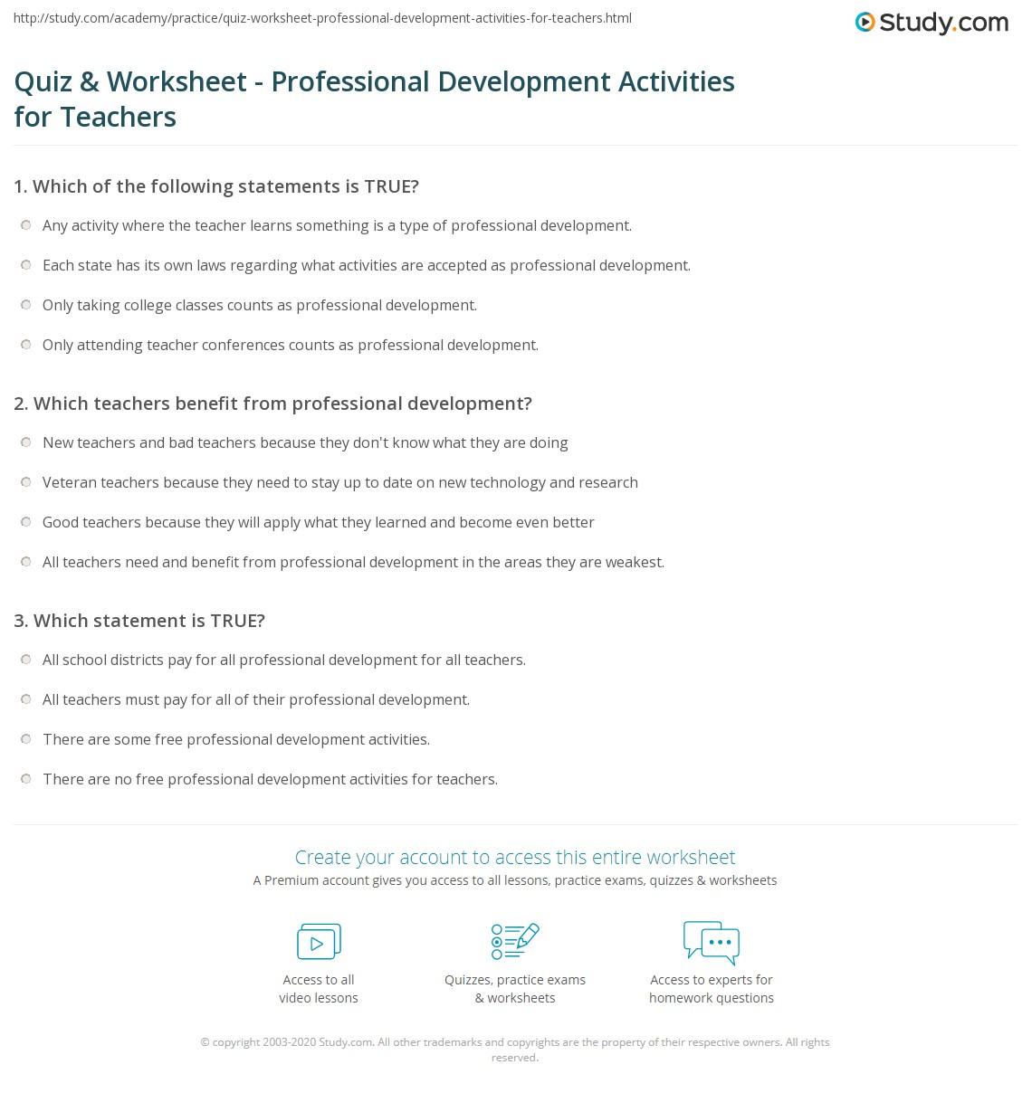 Professional Development Ideas For Teachers
