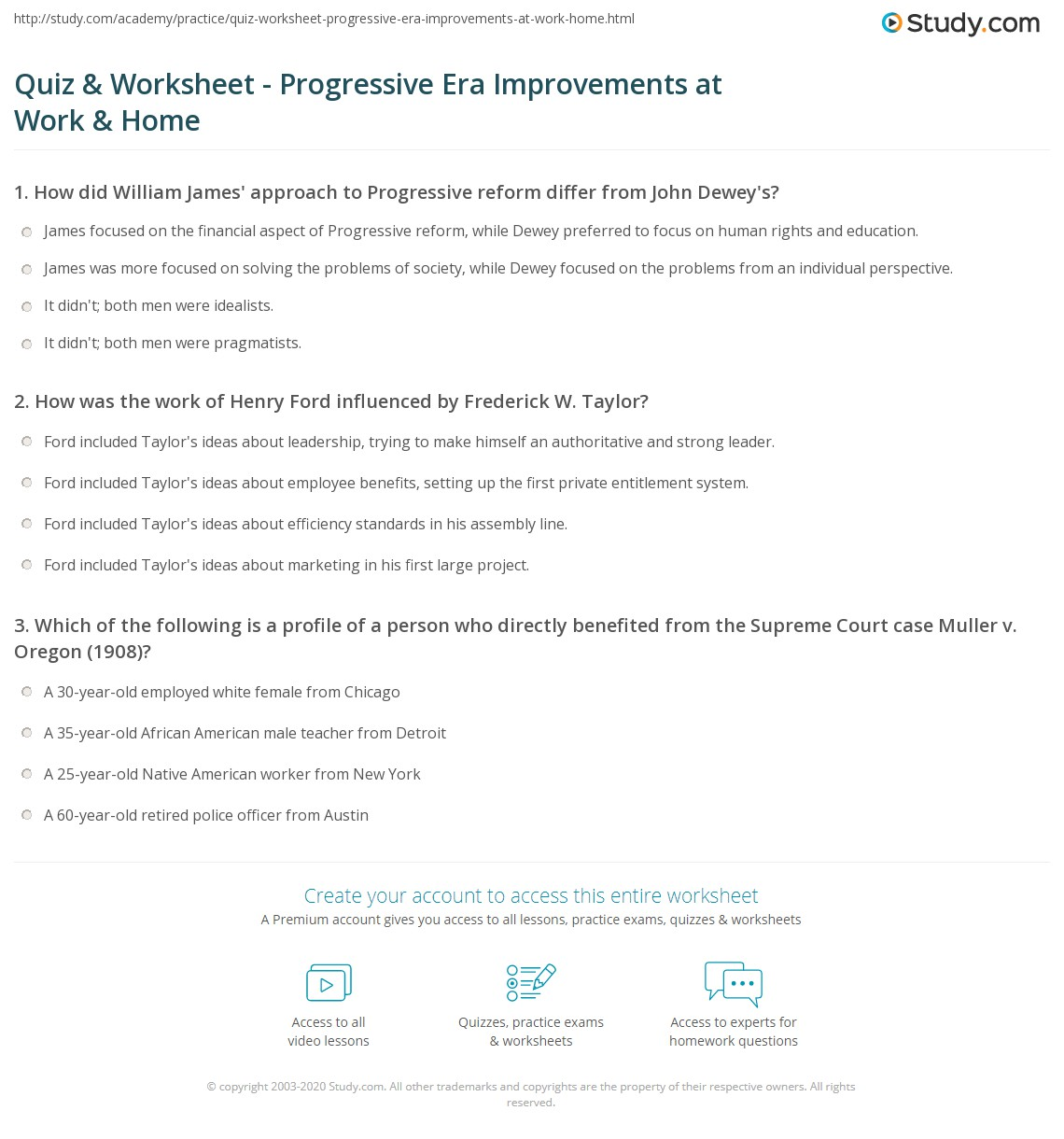 The Progressive Era Worksheet Answer Key
