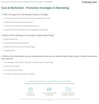 Quiz & Worksheet - Promotion Strategies in Marketing ...
