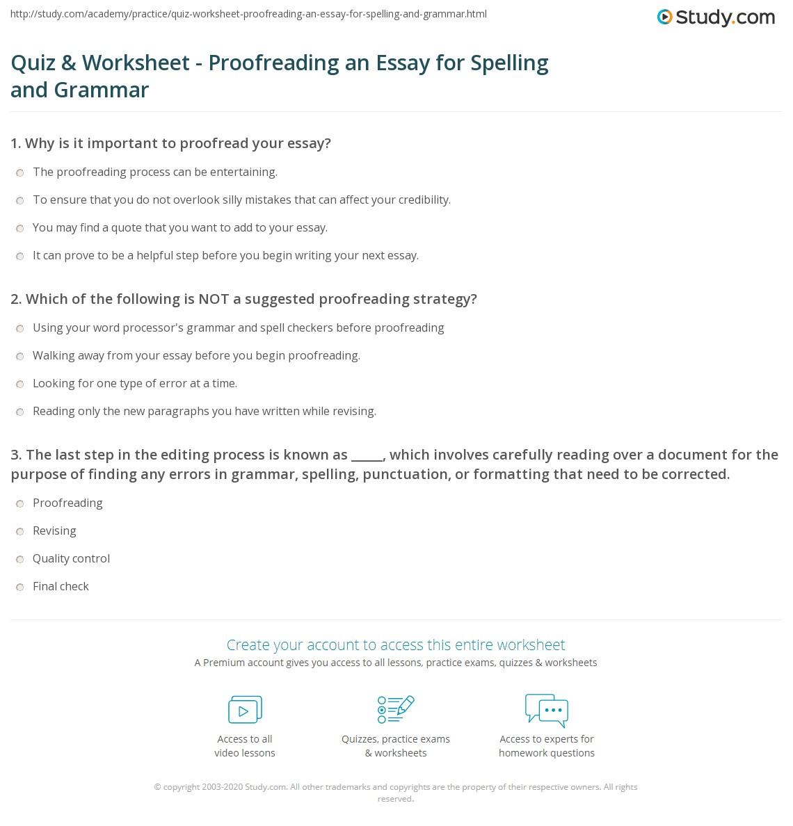 Essay Proofreading Worksheets