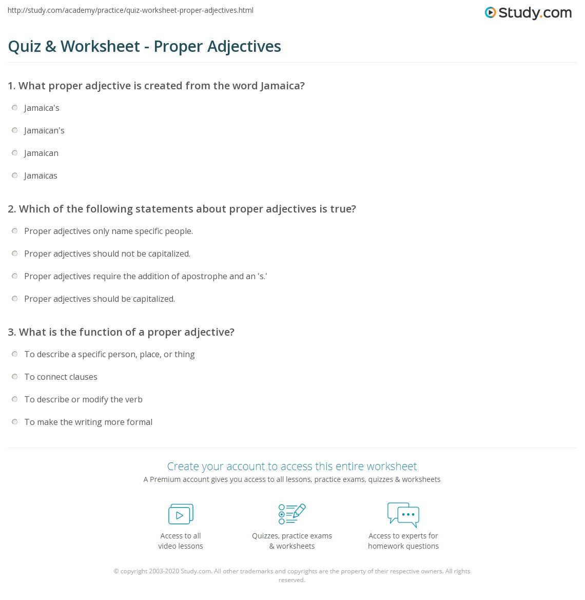 hight resolution of Quiz \u0026 Worksheet - Proper Adjectives   Study.com