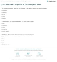 Quiz & Worksheet - Properties of Electromagnetic Waves ...