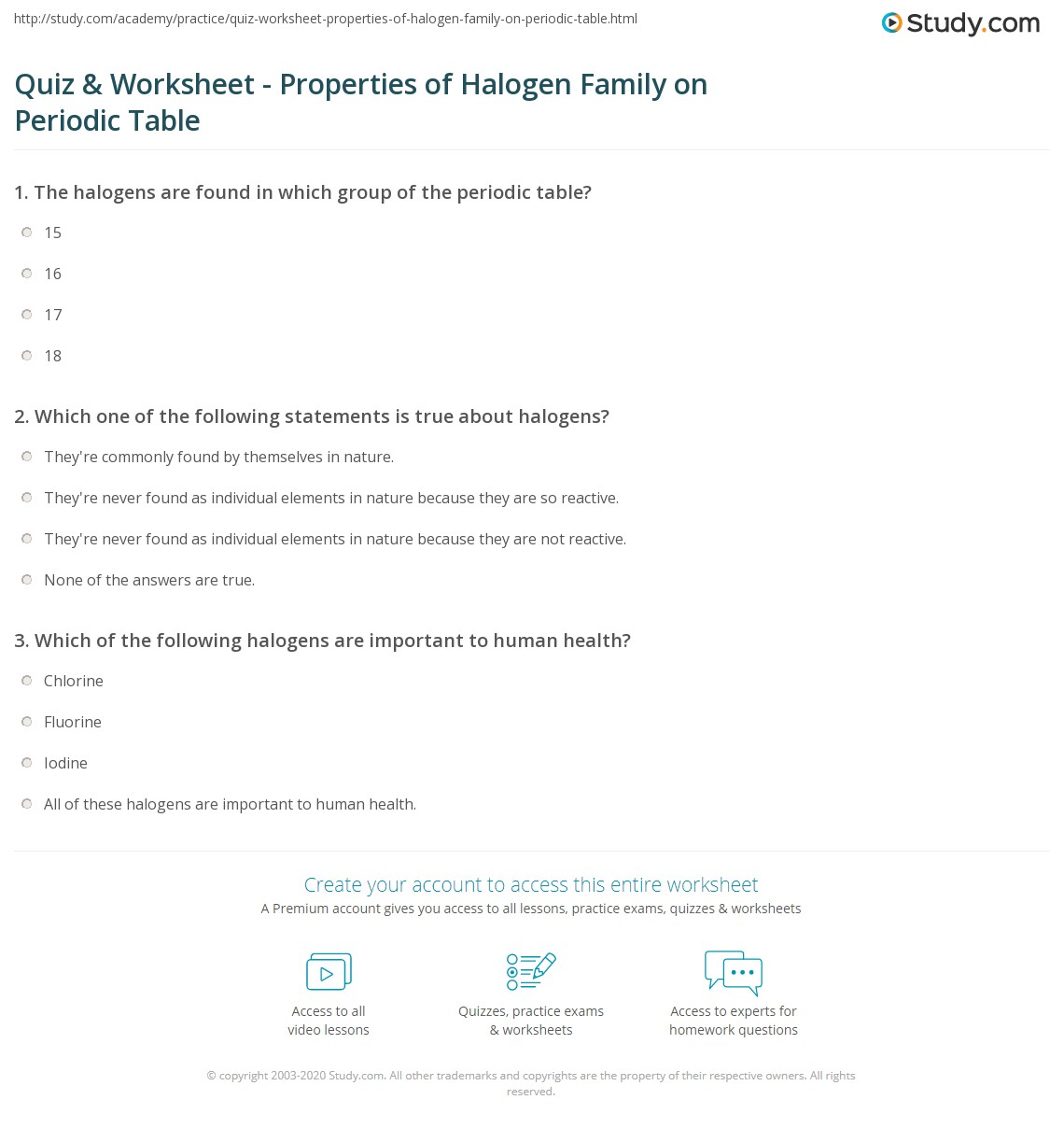 Periodic Table Worksheet Answers Define A Family