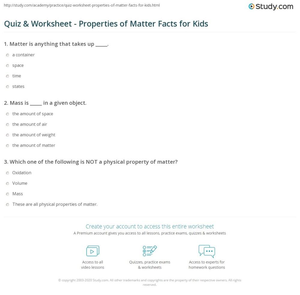 medium resolution of Quiz \u0026 Worksheet - Properties of Matter Facts for Kids   Study.com