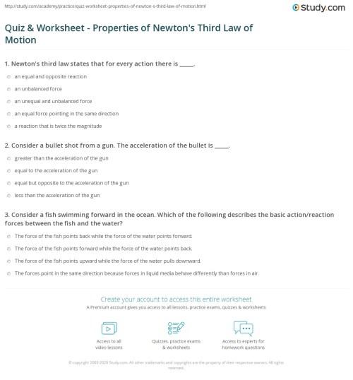 small resolution of Quiz \u0026 Worksheet - Properties of Newton's Third Law of Motion   Study.com