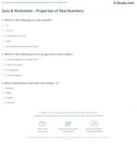 Quiz & Worksheet - Properties of Real Numbers | Study.com