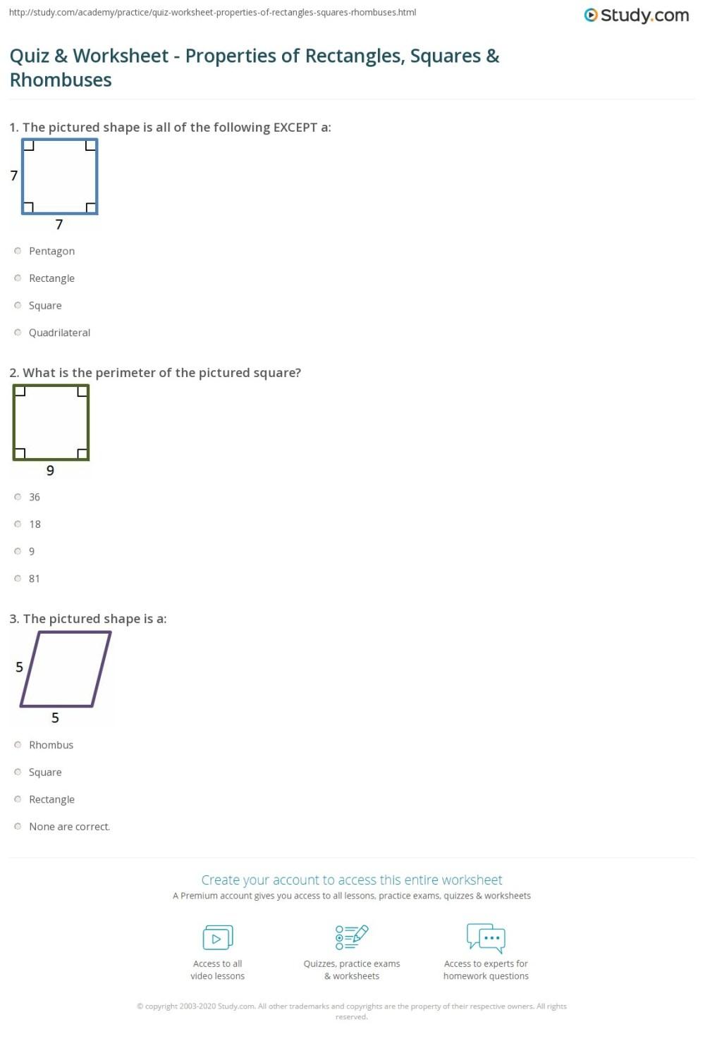 medium resolution of Squares And Rhombi Worksheet - Worksheet List