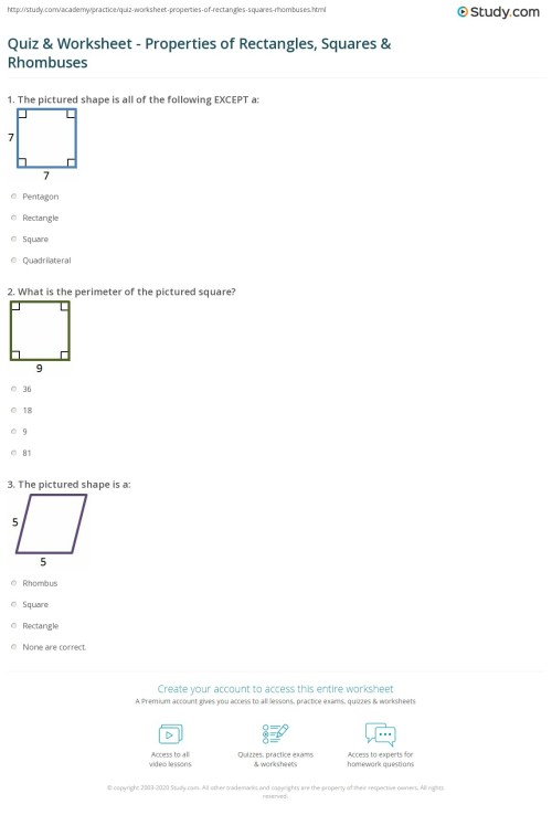small resolution of Squares And Rhombi Worksheet - Worksheet List