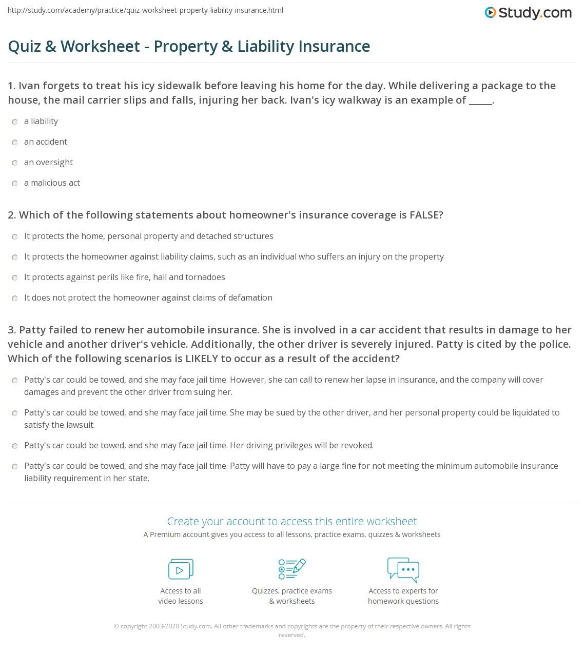 Money Instructor Insurance Worksheet Answers