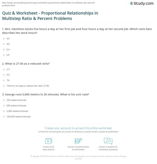 small resolution of Quiz \u0026 Worksheet - Proportional Relationships in Multistep Ratio \u0026 Percent  Problems   Study.com