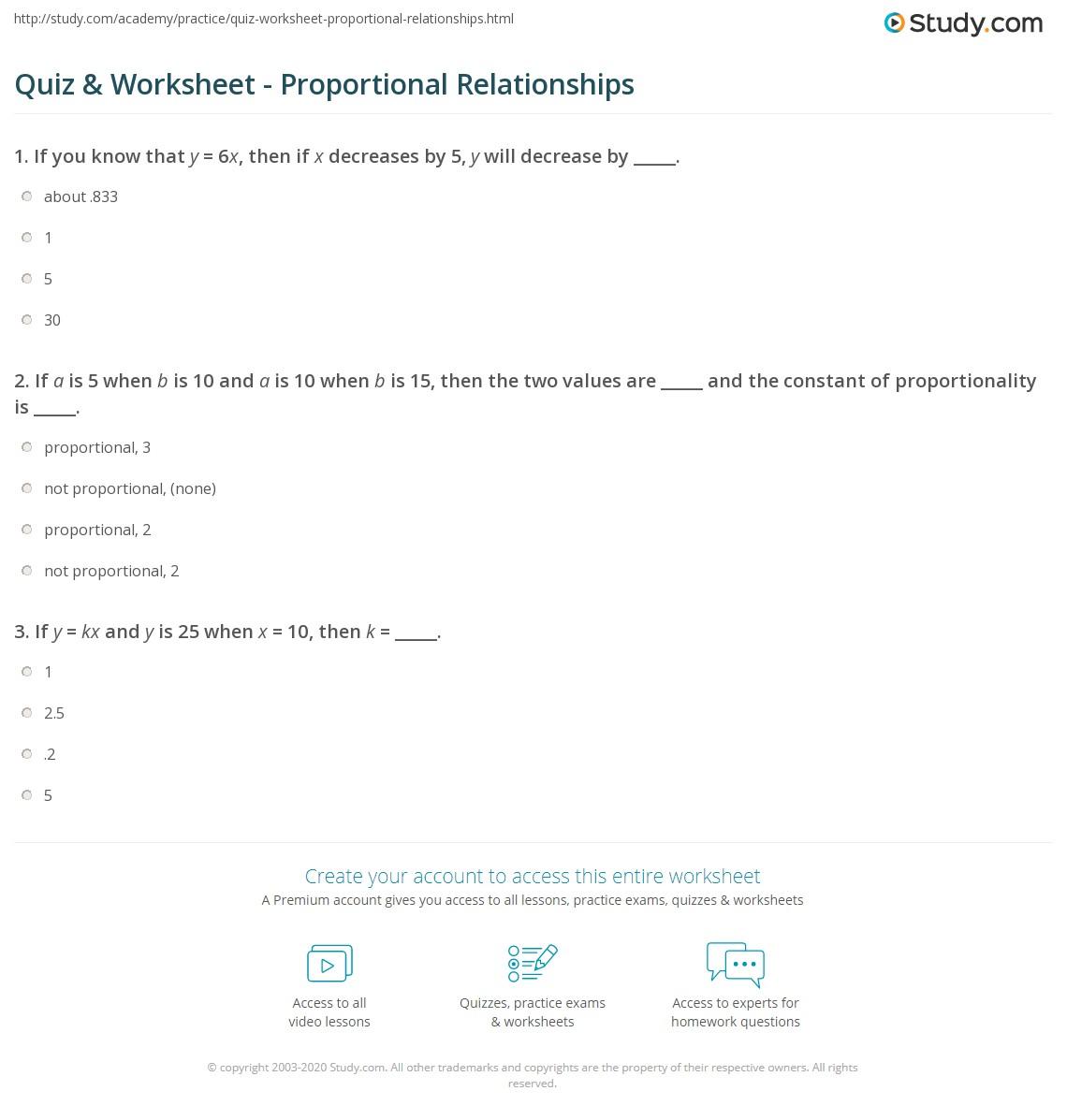 hight resolution of Quiz \u0026 Worksheet - Proportional Relationships   Study.com