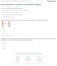 Quiz & Worksheet - Proportions for Real-World Problems ...