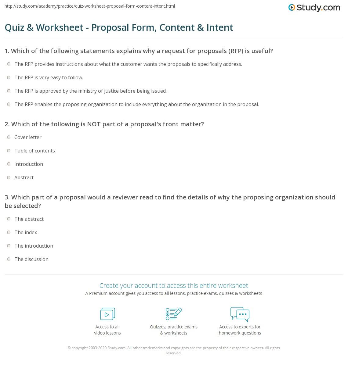 Quiz  Worksheet  Proposal Form Content  Intent  Studycom