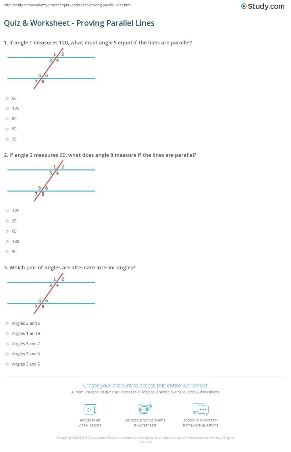 medium resolution of Angles And Parallel Lines Worksheet Answers - Promotiontablecovers