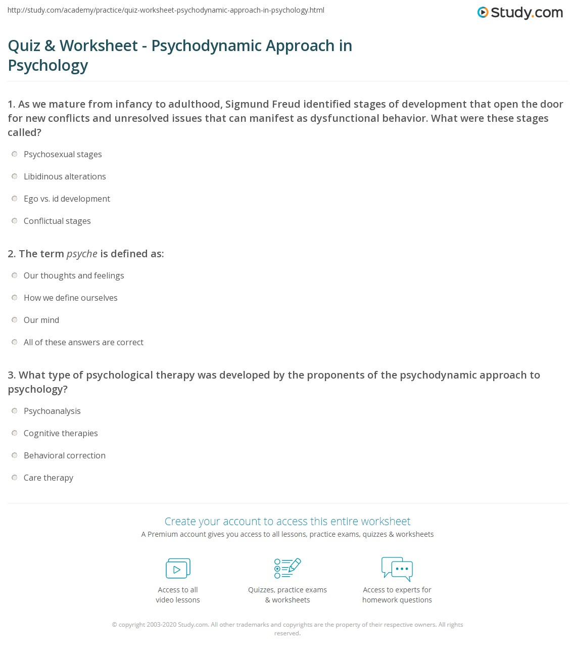 Pictures Psychology Worksheets