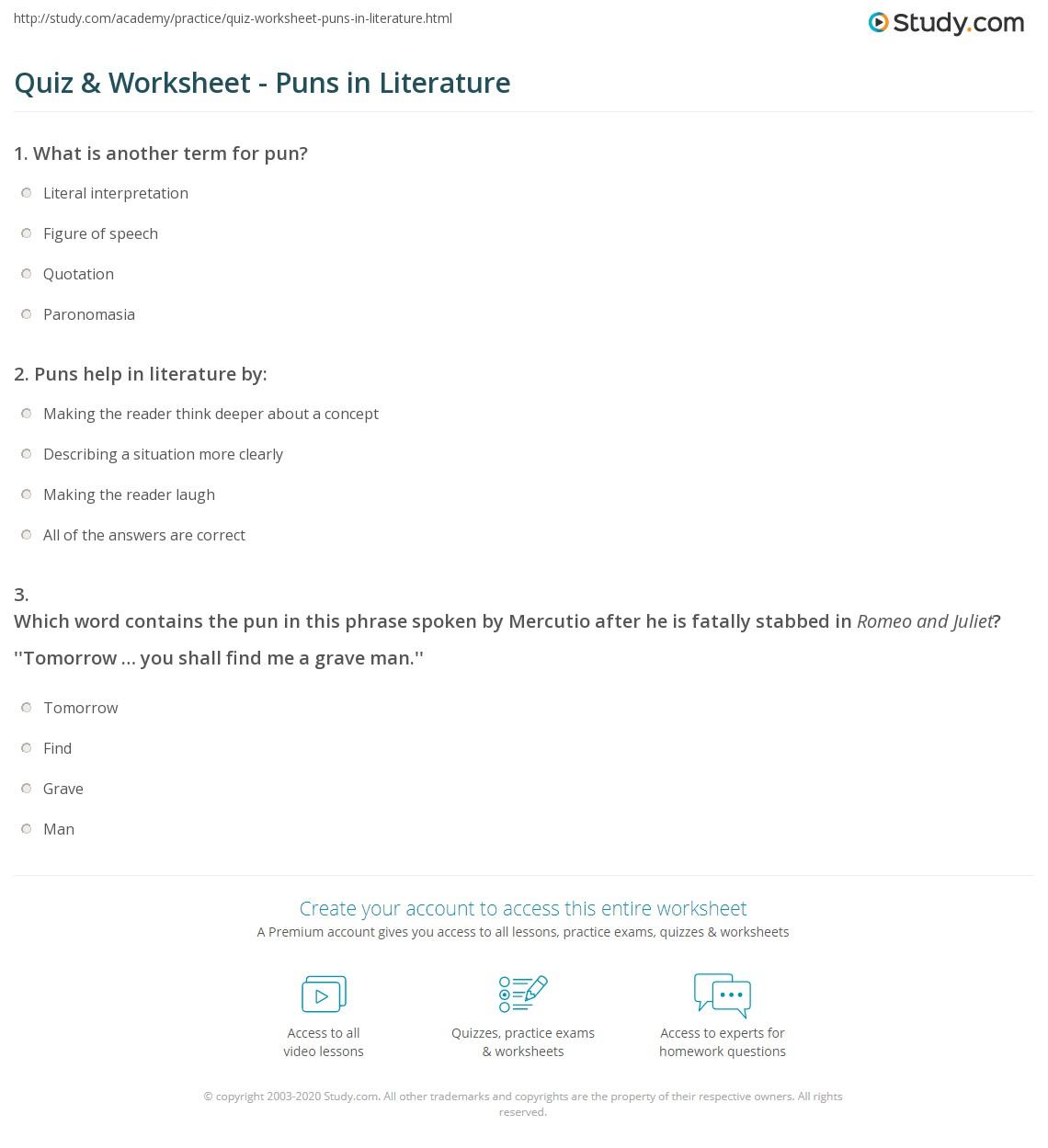 Printable Pun Worksheet