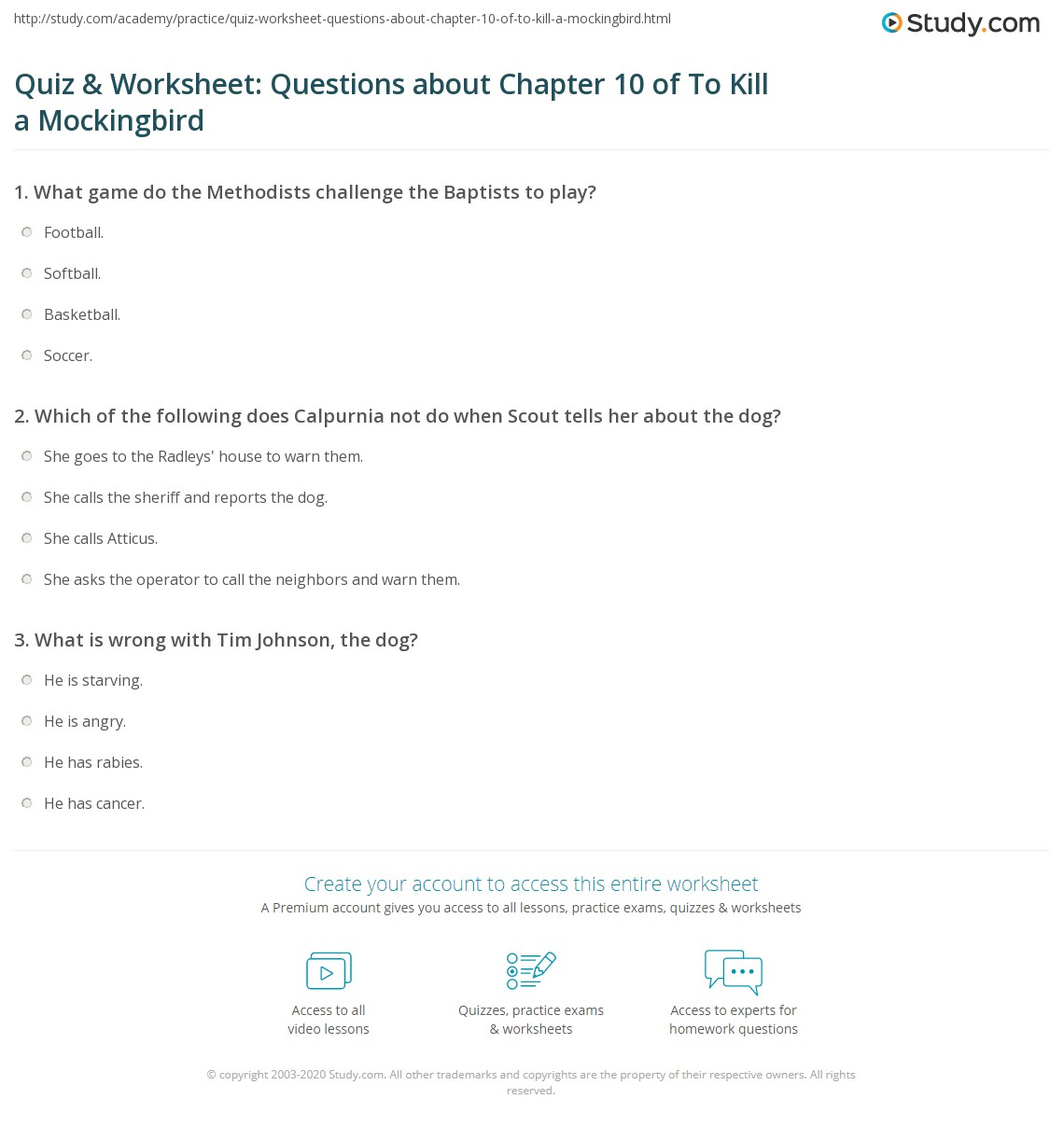 Quiz Amp Worksheet Questions About Chapter 10 Of To Kill A