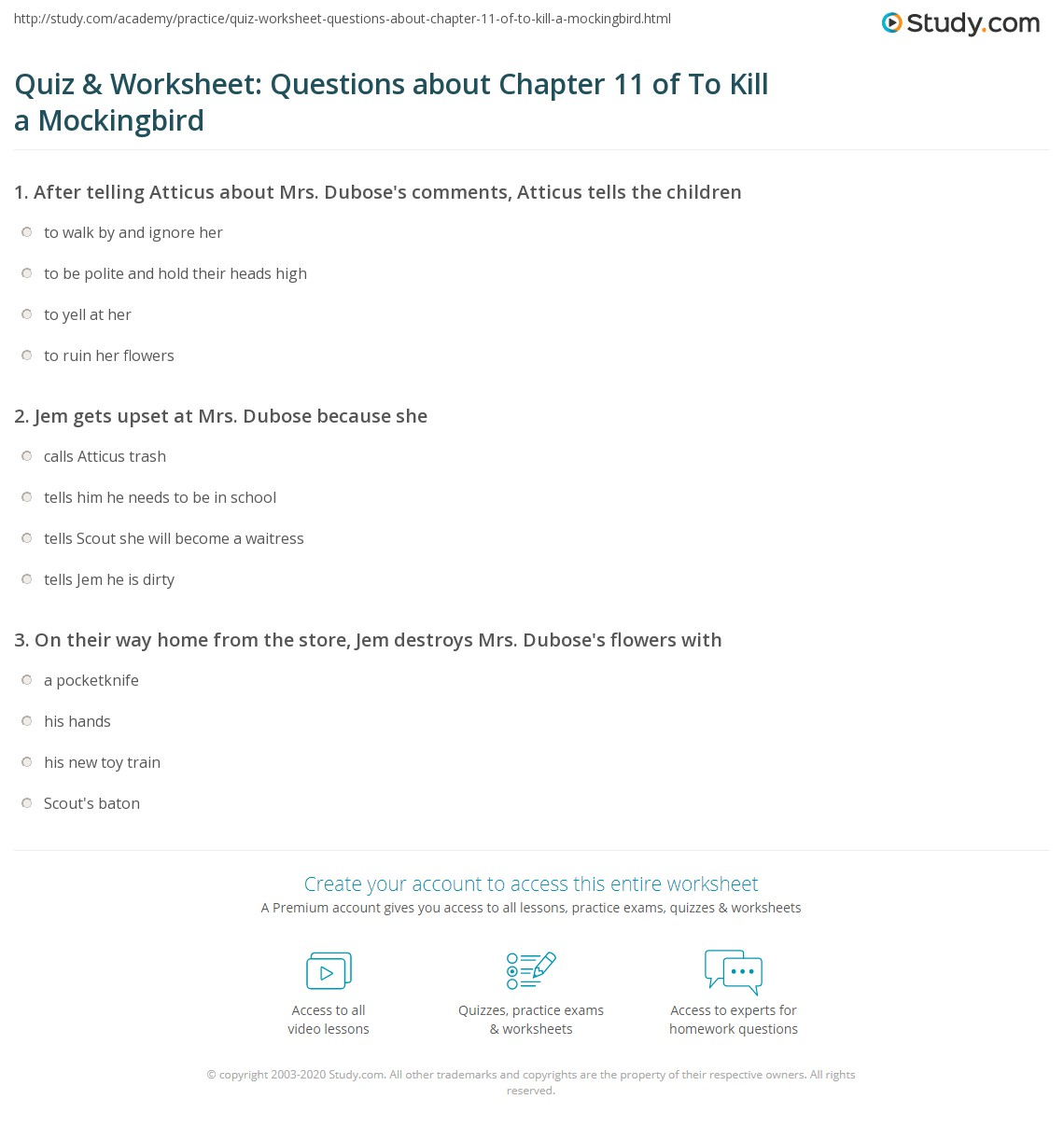 Quiz Amp Worksheet Questions About Chapter 11 Of To Kill A