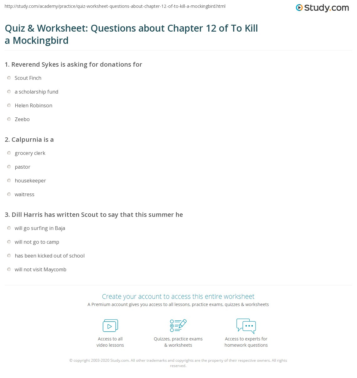 Quiz Amp Worksheet Questions About Chapter 12 Of To Kill A Mockingbird