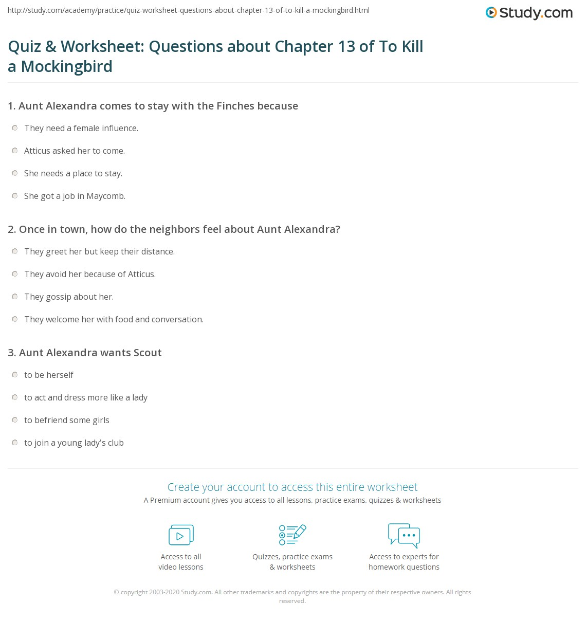 Quiz Amp Worksheet Questions About Chapter 13 Of To Kill A Mockingbird