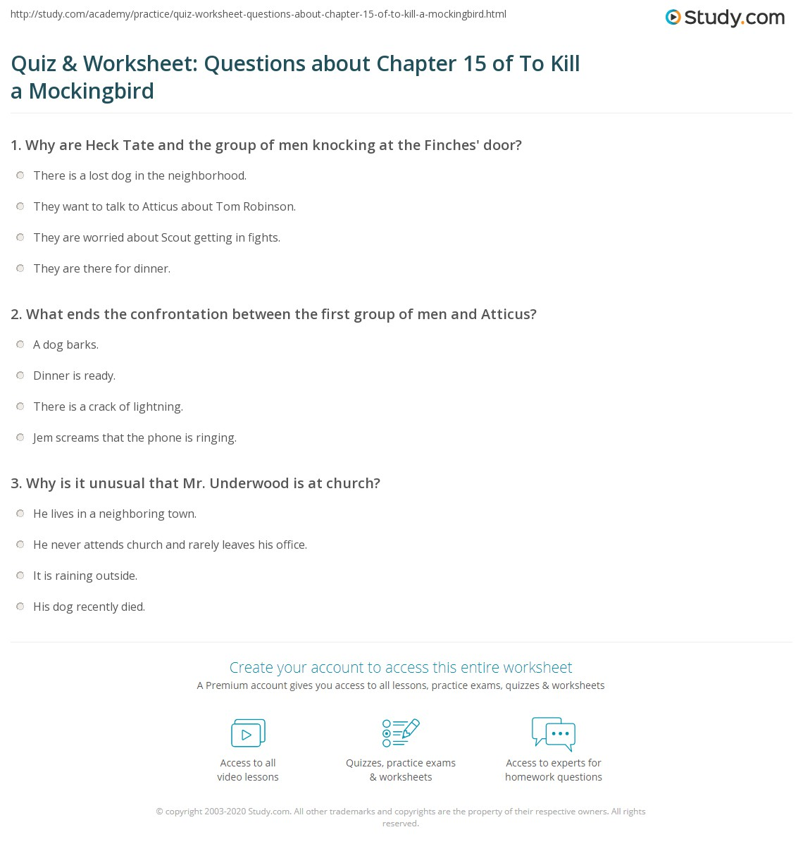 Quiz Amp Worksheet Questions About Chapter 15 Of To Kill A
