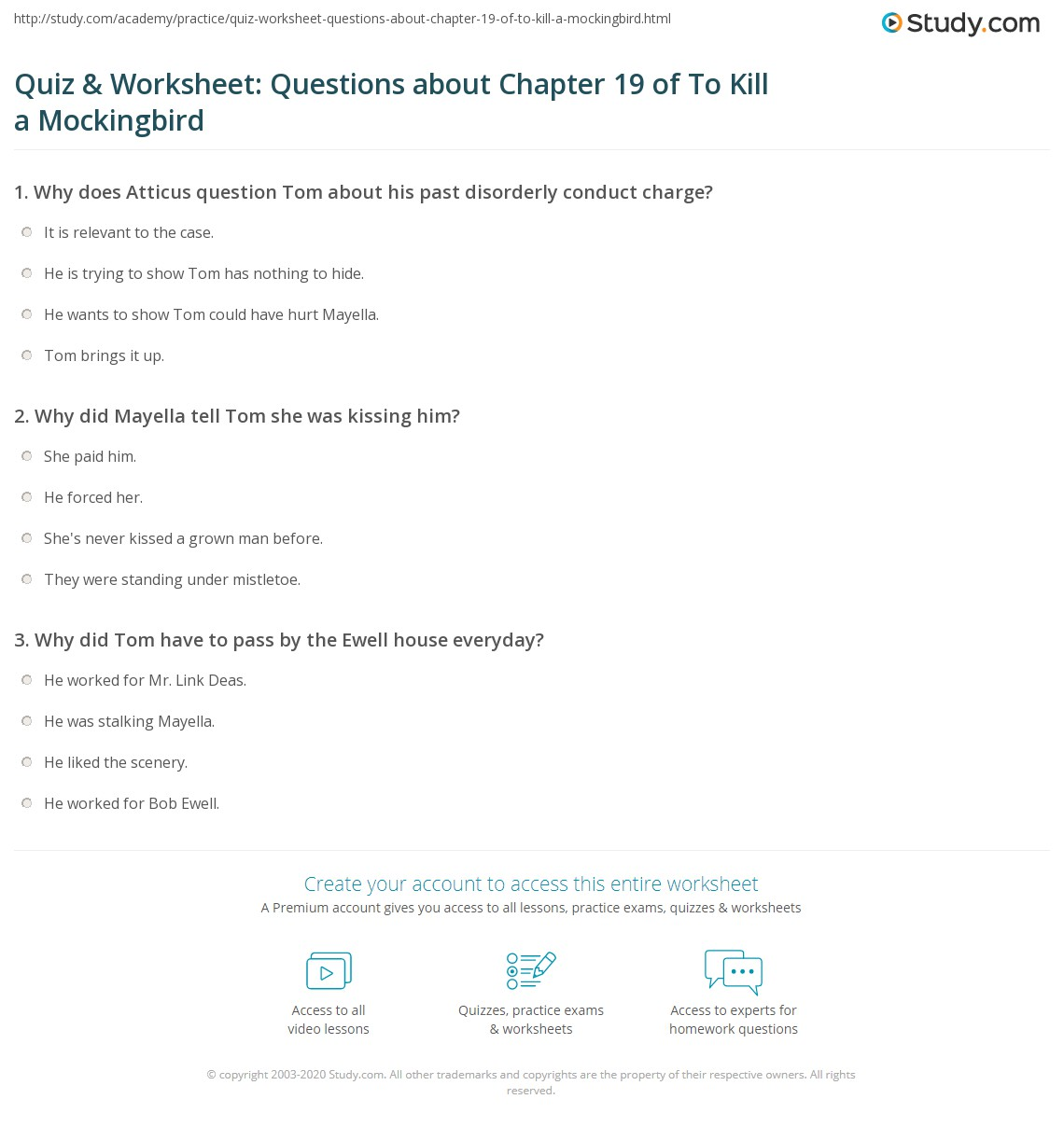 Quiz Amp Worksheet Questions About Chapter 19 Of To Kill A