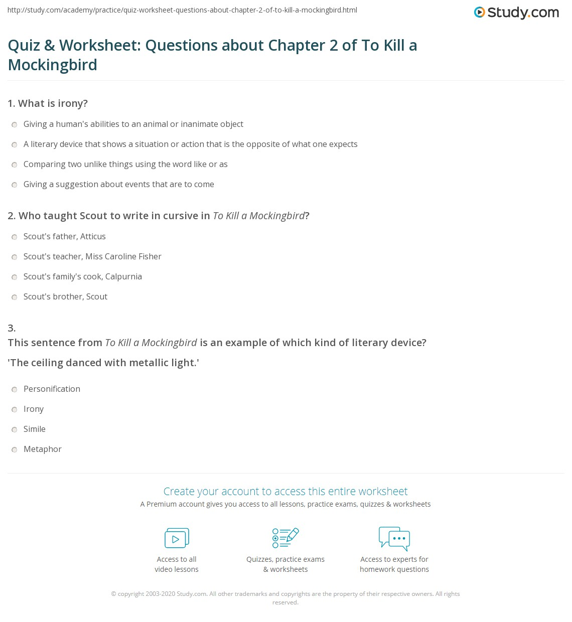 Quiz Amp Worksheet Questions About Chapter 2 Of To Kill A