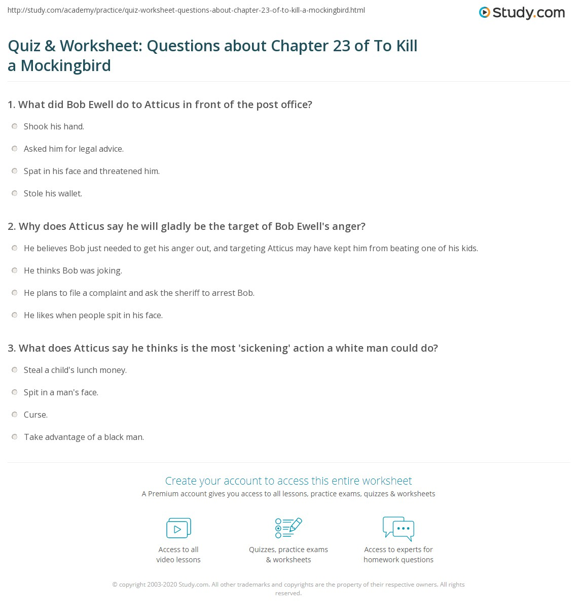 Quiz Amp Worksheet Questions About Chapter 23 Of To Kill A Mockingbird