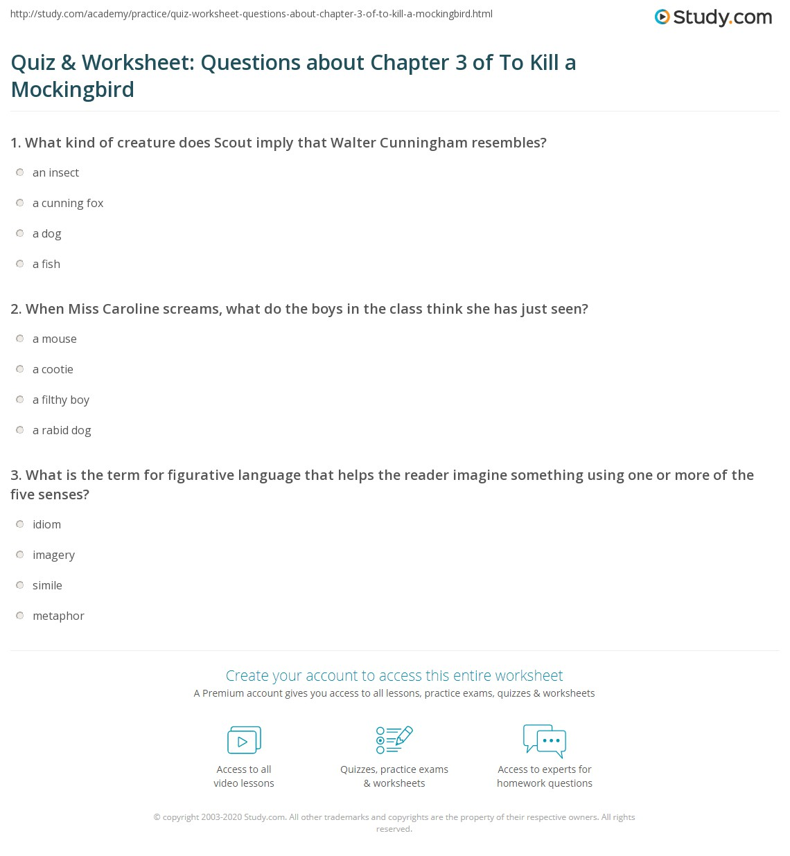 Quiz Amp Worksheet Questions About Chapter 3 Of To Kill A Mockingbird